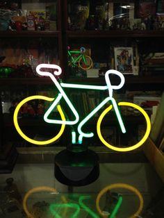 Vintage Bike Neon Sign Light Sculpture Man by UpcycledUpstyled