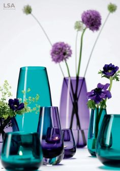 Pretty vases, turquoise and violet