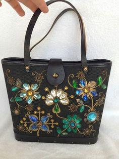 "Black ""Jewel Garden"" tote/bucket purse"