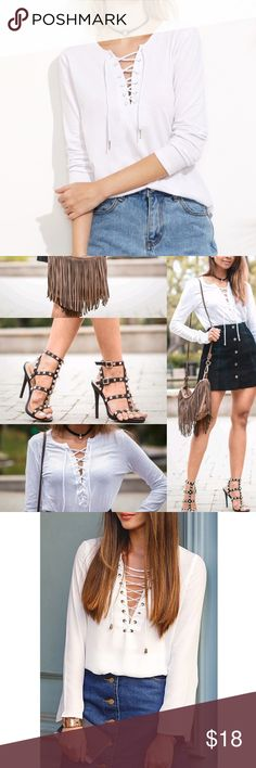 White Lace Up Top White Lace Up Top. Flowy with a curved hem. Bnwot. Can be dressed up or down. Boutique brand listed as urban outfitters for views. Urban Outfitters Tops Blouses