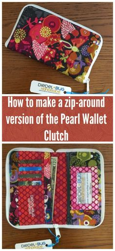 Sewing stitches for beginners. how to convert the swoon pearl clutch wallet to a zip-around version. love the finished result! Easy Sewing Projects, Sewing Projects For Beginners, Sewing Hacks, Sewing Tutorials, Sewing Tips, Tutorial Sewing, Bag Tutorials, Sew Wallet, Fabric Wallet