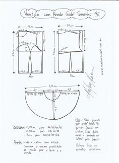 Esquema de modelagem de vestido com renda godê tamanho 42.