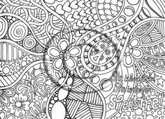 digital coloring page hand drawn zentangle inspired