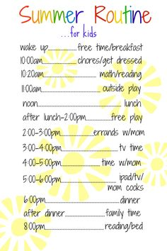 Looking for some sanity this summer? Try doing a schedule for your family. A daily routine for kids over the summer works like a charm! Here's an example.