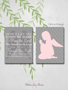 Now I lay me down to sleep, Lords Prayer, Girls Room Decor, by WillowLanePrints