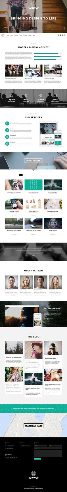 Willow - A One Page Multi-Purpose Theme - Creative WordPress Themes Awards Design Web, Layout Design, Web Layout, Page Design, Website Layout, Email Design, Flyer Design, Website Design Inspiration, Layout Inspiration