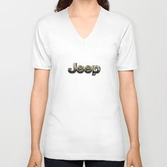 muddy yellow Jeep with chrome typograph v-neck t-shirt @society6 #vneck #tee #tshirt #clothing #jeep #landrover #logo #car #offroad #wrangler #toyota