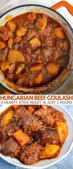 Easy Hungarian Goulash (meltingly fall-apart tender) – Dinner, then Dessert Hungarian Beef Goulash is a thick, hearty stew made from tomato paste, beef, veggies and a blend of spices on a bed of chopped potatoes and carrots. Ready in about 2 hours. Beef Goulash, Goulash Recipes, Meat Recipes, Cooking Recipes, Beef Chunks Recipes, Stewing Beef Recipes, Cooking Tips, Beef Bourguignon, Classic Beef Stew