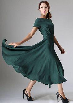 Linen dress, midi dress, green linen dress woman, 50s dress, prom dress,  summer dress, evening dress, short sleeve dress, custom dress 971 392b0f90e0