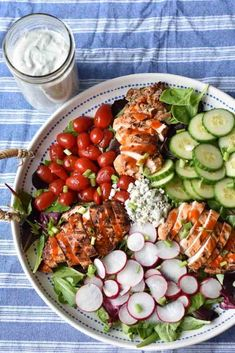 Grilled Buffalo Chicken Salad is full of spicy lean protein and fresh vegetables, all topped with a cool and creamy homemade blue cheese dressing! Radish Salad, Cobb Salad, Grilled Buffalo Chicken, Buttermilk Chicken, Blue Cheese Dressing, Green Tomatoes, Lean Protein, Fresh Vegetables, Chicken Salad