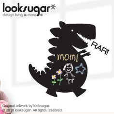 Dinosaur Chalkboard Wall Decals Kids Nursery wall by looksugar, $45.00