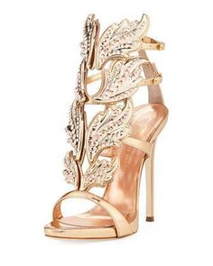 Coline+Wings+Leather+110mm+Sandal,+Rose+Gold+++by+Giuseppe+Zanotti+at+Neiman+Marcus. #giuseppezanottiheelssandals #giuseppezanottiheelsgold