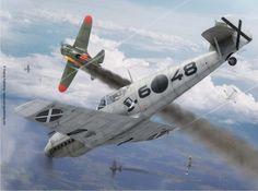 A Messerschmitt Bf-109 downing a Policarpov I-16 Rata over Spain 1939. Spanish Civil War