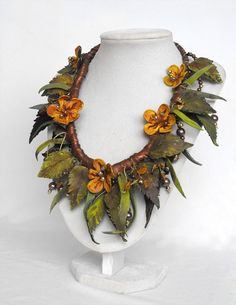 RESERVED FOR Mizzdraconia Floral leather necklace by julishland