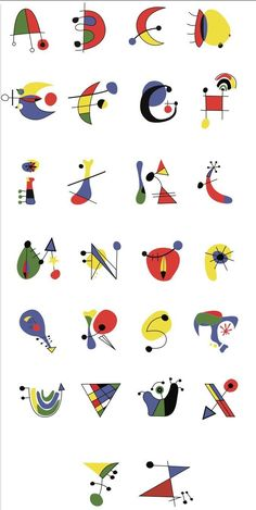 Letters to decorate 2 - - Typography Fonts, Hand Lettering, Mobil Origami, Mobiles Art, Joan Miro Paintings, Alphabet Art, Art Abstrait, Art Plastique, Oeuvre D'art
