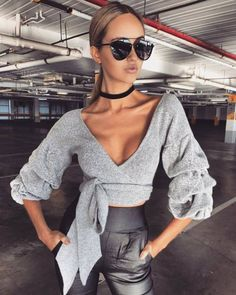 Women Blouses - Blouses for ladies Fleur Wood Sexy V Neck Blouse Crop Women Long Sleeve Tops Female Slim Shirt Solid Autumn Bow Office Ladies Elegant Shirt Streetw Cropped Pullover, Cropped Sweater, Pullover Sweaters, Blouses For Women, Sweaters For Women, Loose Sweater, Gray Sweater, Madame, Clubwear