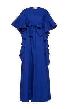 DELPOZO Long Poplin Draped Dress