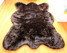 Clearance Big brown bear faux fur rug chocolate by PlushFurever