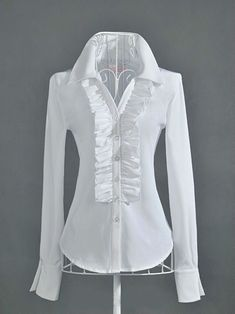 OL Style Single Breasted Long Sleeve White Shirts with Frill White Shirts Women, Blouses For Women, Blouse Styles, Blouse Designs, Trendy Dresses, Nice Dresses, Boho Fashion, Fashion Outfits, Curvy Fashion