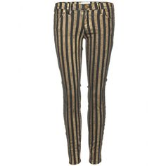 Gold Metallic Striped skinny jeans.   Classic five-pocket style. Zipper fly, button closure. Belt loops. (98% Cotton, 2% Elastane)    #fashion #style #stripedjeans #metallicjeans #goldjeans #gold #jeans #denim