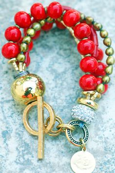 Red  Gold Holiday Bracelet: Holiday Inspired Rhinestone, Red Venetian Glass, Coral  Gold Bracelet