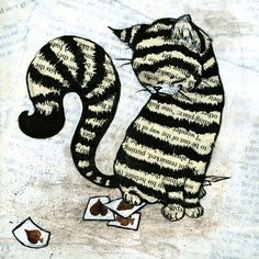 Striped cat of black and white. #cat #stripes