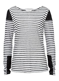 100% Linen stripe patch tee. Comfortable fit with long sleeves. Features all over stripe with contrast black patches on sleeve. Available in Multi as shown.