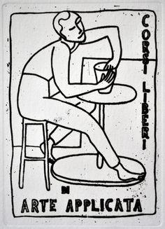 Titolo: La scuola di Parigi Anno: 2010 Tecnica: Acquaforte Lastra: zinco mm. 141x195 Carta: bianca gr/m2 285 di mm. 350x250 Inchiostro: nero Rosaspina Fabriano: lato destro Timbro a secco MZ: al centro piè di pagina Tiratura: esemplari n° 15 Stampatore: l'autore