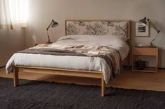 A stylish, contemporary wooden bed with a padded headboard for extra comfort. This solid wood bed is enhanced with a classic fabric headboard. Bedding And Curtain Sets, Bed Company, Oak Beds, Bed Price, Luxury Bedding Sets, Bed Duvet Covers, Cozy Bed, Bed Styling, Bed Design