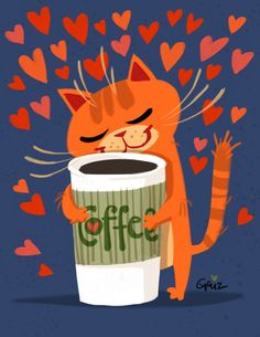 cat loves coffee (by Geuz)