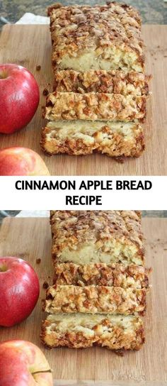 Homemade Bread Cinnamon Apple Bread Homemade by HappyBakeShop Apple Recipes, Fall Recipes, Bread Recipes, Baking Recipes, Apple Cinnamon Bread, Cinnamon Apples, Banana Bread, Eating Vegetables, Sweet Bread