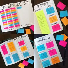 Learn five ways to use sticky post it notes in your bullet journal to create reusable lists, meal plans, shopping lists and more! Bullet Journal Year, Bullet Journal Design, Bullet Journal Notebook, Bullet Journal Ideas Pages, Journal Pages, Bullet Journal Vision Board, Bullet Journals, School Calendar, Planner Organization