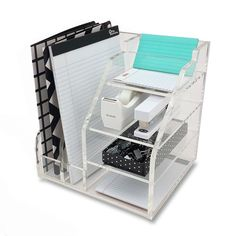 OnDisplay Luxe Acrylic File Organization Station, Clear