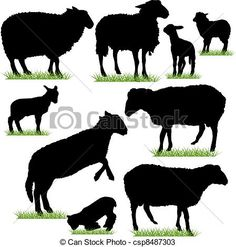 Vectors of Sheep and Lambs Silhouettes Set csp8487303 - Search ...