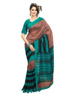 Brown and turquoise with black  printed #bhagalpurisilksaree