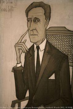 Portrait, 1955, de Jean Cocteau, 1889-1963, par Bernard Buffet, maison du Bailli, demeure de Jean Cocteau à Milly-la-Forêt, Essonne