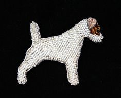 Smooth Fox Terrier Bead Embroidered Dog Art by DogsBeDazzled