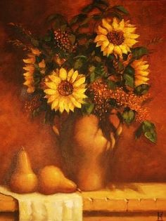 SUNFLOWERS AND SHADOWS by Mollie Erkenbrack Oil ~ 20 x 16 (SOLD)
