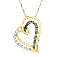 1/6 CT. T.W. Enhanced Green and White Diamond Tilted Looping Heart Pendant in 10K Gold