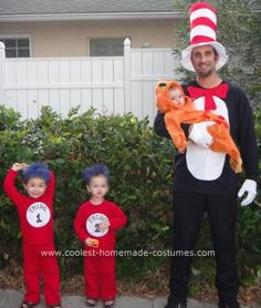 "Homemade Cat in the Hat Family Costume Idea: It took a few weeks, but we finally decided on a ""Cat in the Hat"" family theme for Halloween 2010. I bought a goldfish costume ($12) for my 6-month-old."