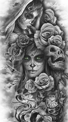 Sugar Skull Girl Tattoo, Skull Rose Tattoos, Skull Sleeve Tattoos, Girl Face Tattoo, Half Sleeve Tattoos For Guys, Leg Sleeve Tattoo, Best Sleeve Tattoos, Leg Tattoos, Girl Tattoos