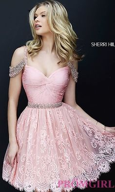 Sherri Hill Sweetheart Cold Shoulder Homecoming Dress at PromGirl.com