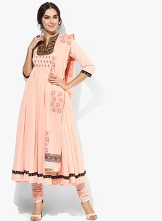 Buy Rain & Rainbow Pink Embroidered Cotton Churidar Kameez Dupatta online in India at best price.Created for pastel lovers, this pink suit set from Rain & Rainbow includes a flared kurta, churidar and Churidar, Anarkali, Salwar Kameez, Indian Outfits, Indian Clothes, Designer Punjabi Suits, Pink Suit, Salwar Suits, Indian Fashion