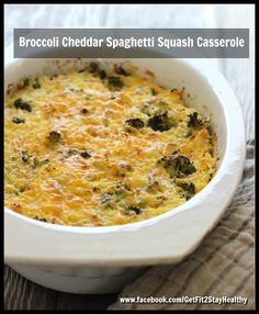 Broccoli Cheddar Spaghetti Squash Casserole ~ Need help? Let's connect! Email me with a list of your goals and lifestyle to getfit2stayhealthy@gmail.com or go to facebook.com/GetFit2StayHealthy and connect with me there! #GetFit2StayHealthy #21DayFix #SideDish #Entree