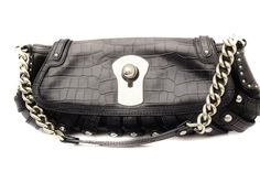 Versace Blue Black Crocodile Embossed Leather Chain Shoulder Bag