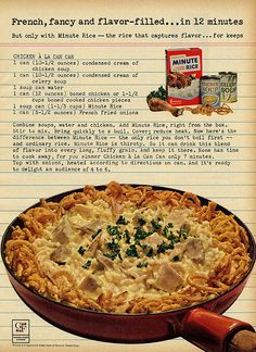 Here's the 1963 recipe for Chicken a la Can Can. 1 can (10 1/2 ounces) condensed…