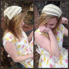 Vintage 1940's Cream Straw Half Hat, Small Curved Brim, Rhinestones, Lace Embroidery/Wedding, Bride, Rockabilly/Summer Hairpiece,Headpiece by VintageDoylestown on Etsy