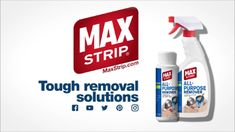 It's time to get tough with those difficult removal jobs and Max Strip All Purpose Remover can help! How To Remove, How To Get, Drip Painting, Spray Bottle, Cleaning Supplies, Purpose, Surface, Diy, Bricolage