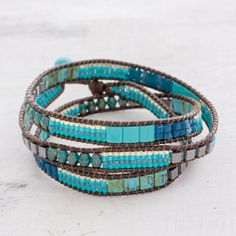 Jewelry Making Bracelets Glass Beaded Wrap Bracelet in Turquoise from Guatemala - Mayan Monolith Ancient Jewelry, Old Jewelry, Jewelry Making Beads, Bracelet Making, Jewelry Gifts, Beaded Jewelry, Handmade Jewelry, Silver Jewelry, Jewellery Making