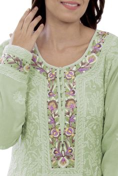 Pista Green Chikankari And Parsi Gara Handcrafted Pure Georgette Suit